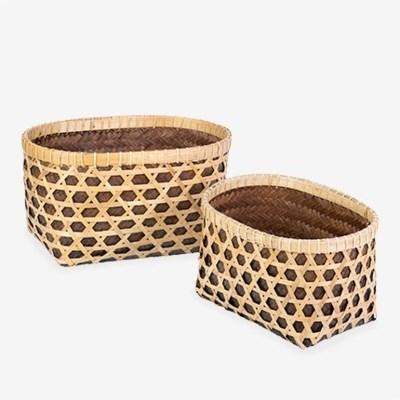 Woven Container - Nat/Brwn Small