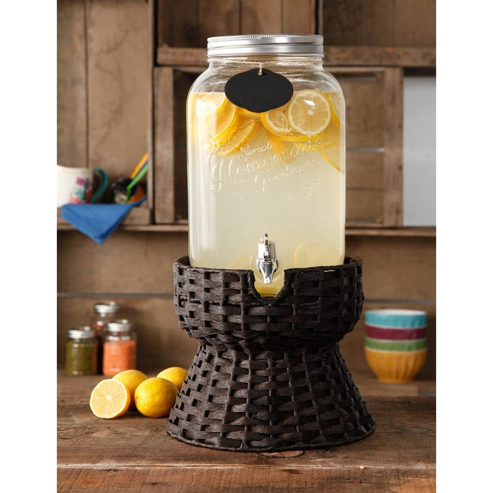 Beverage Dispenser-Turquoise 2 Gal w/Wicker Stand