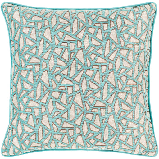 Biming Ivory Aqua Pillow