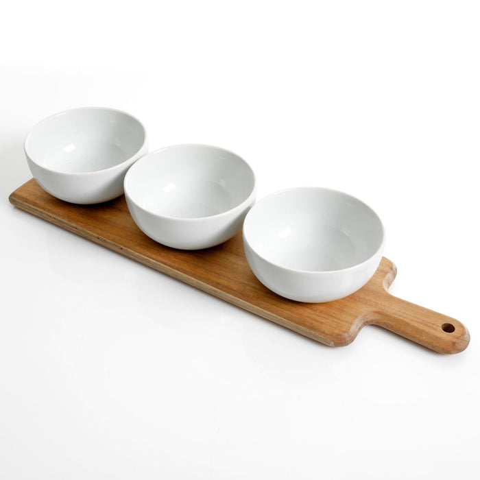 Gracious Dining 3 Piece Tidbit Bowl on Wood Paddle (White)