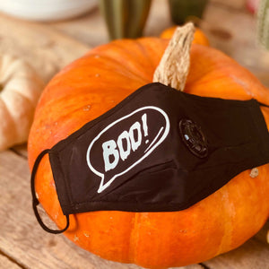 BOO! NOIR | Personalised Halloween Black Face Covering