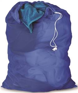 Drawstring Closure Mesh Laundry Bag, Blue