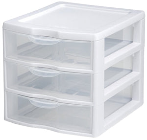 Sterilite 3 Drawer Mini Organizer, Clear & White Plastic
