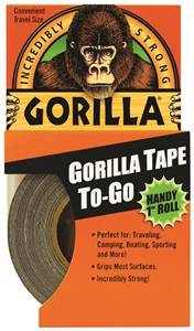 Gorilla Heavy-Duty Duct Tape To-Go, Black, 30 Yards
