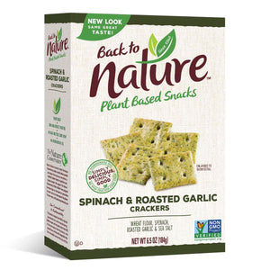 Back To Nature Spinach & Roasted Garlic Crackers, 6oz