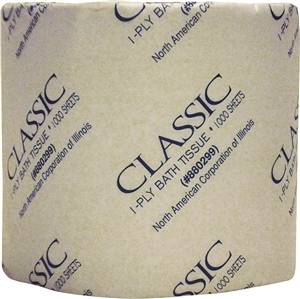 NORTH AMERICAN PAPER Classic Bathroom Tissue, 1-Ply, 1000 Sheets/Roll