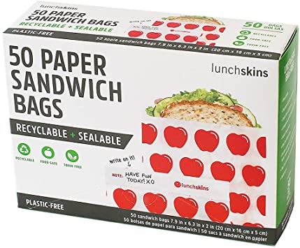 Lunchskins Paper Sandwich Bags, Apple Print Pattern, 50 Count
