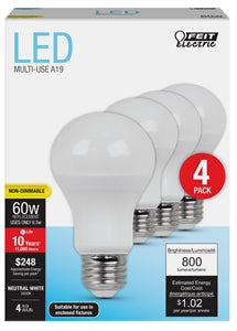 Feit Electric 60 Watt Equivalent Bulb, 4 Pack