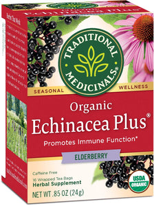 Traditional Medicinals Organic Echinacea Plus Tea, Elderberry, 16 Tea Bags