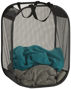 Mesh Fabric Hamper Bag, Black