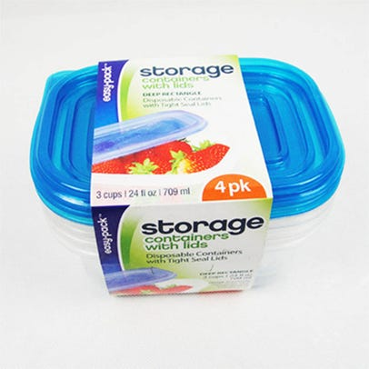 Easy Pack Storage Containers With Lids, 4 Pack