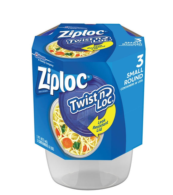 Ziploc Small Round Twist N Lock Containers, 3 Pack