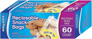 Easy Pack Reclosable Snack Bags, 60 Count Pack