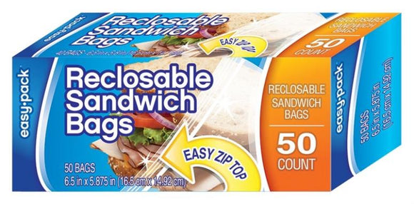 Easy Pack Reclosable Sandwich Bags, 50 Count Pack