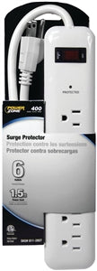 Power Zone Surge Protector Power Strip, 6 Outlets