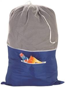 Drawstring Closure Laundry Nylon Bag, Jumbo, Blue