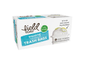 Field Day Drawstring Tall Kitchen Trash Bags, 13 Gallon, 20 Bags