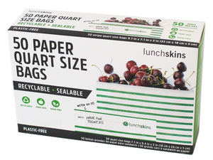 Lunchskins Paper Quart Bags,Stripes, 50 Count