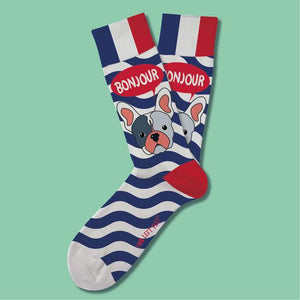 Two Left Feet Sock Co. Adult Socks, Bonjour Frenchie