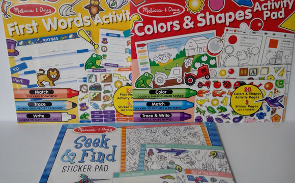 Activity Pads - First Words, Color & Shapes, Seek & Find 3 Piece