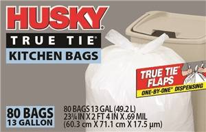 Husky HK13WC080W Kitchen Trash Bags, 13 gal Capacity, Poly, White