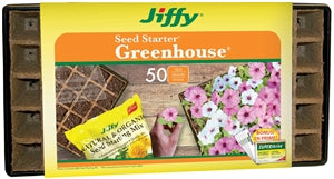Jiffy Seed Starter Greenhouse with peat strips and tray