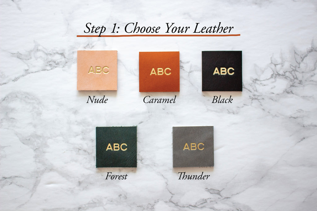 Fitzy Leather Colour Options: Nude, Caramel, Black, Forest (Dark Green), Thunder (Medium Grey)