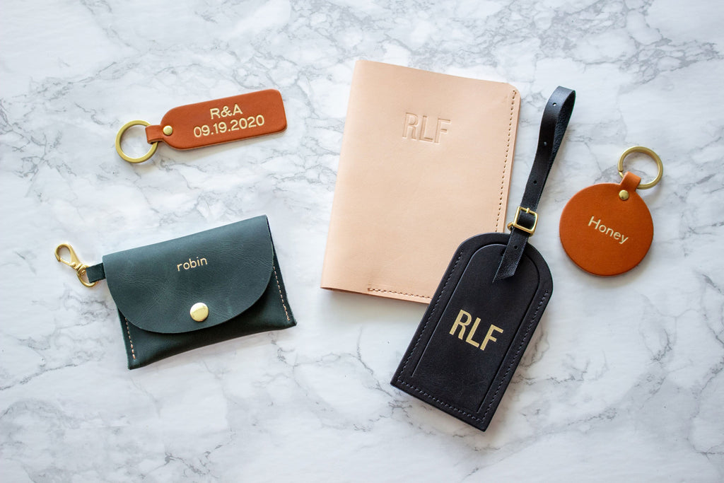 Fitzy Monogrammed Leather Goods Handamde in Toronto, ON, Canada: Keychain Card Wallet, two Keychains, Passport Wallet, Luggage Tag all monogrammed with various names and initals