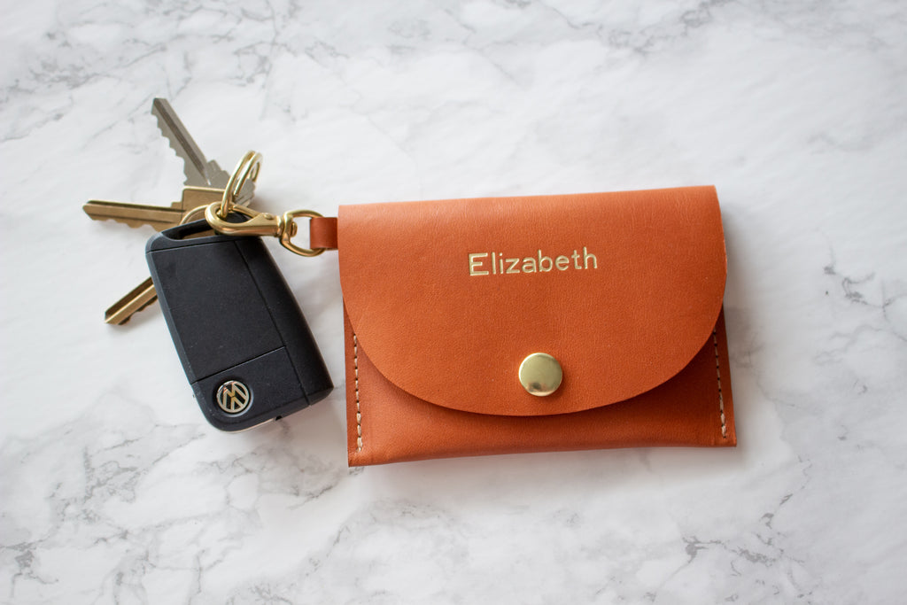 Monogrammed Caramel Vegetable Tanned Leather Keychain Credit Card Wallet with Solid Brass Hardware - Handmade in Toronto, ON Canada by Fitzy
