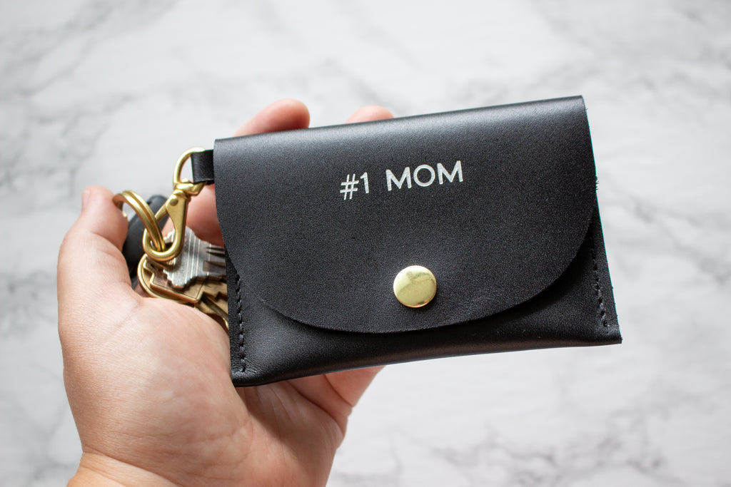 Monogrammed Black Full Grain Leather Keychain Credit Card Wallet with Solid Brass Hardware - Handmade in Toronto, ON Canada by Fitzy