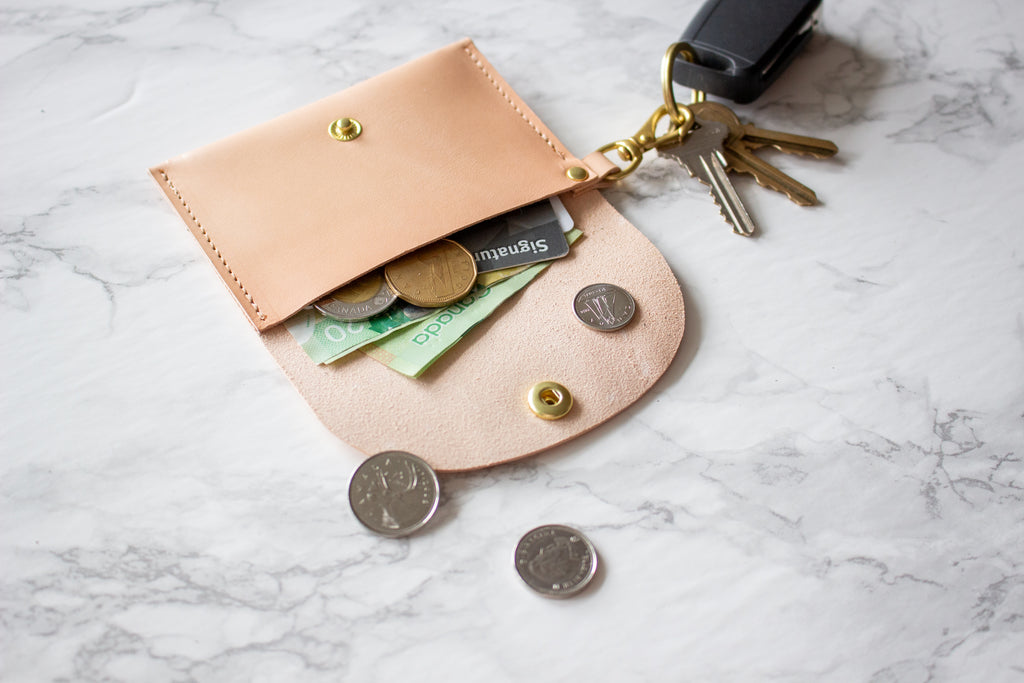Monogrammed Nude Vegetable Tanned Leather Keychain Card Wallet - Handmade in Toronto, ON Canada by Fitzy