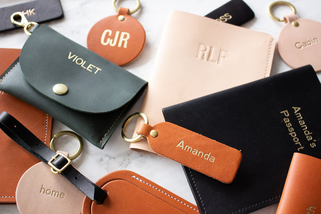 Assorted Monogrammed Leather Fitzy Products, Handmade in Toronto, ON, Canada