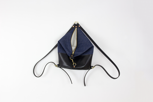 Dark Denim & Black Leather Mini Backpack