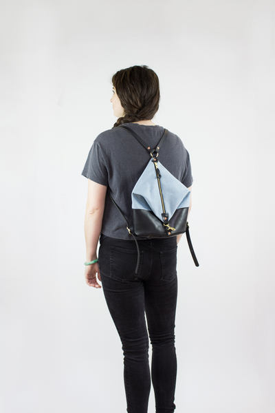 Forest Leather & Light Denim Mini Backpack