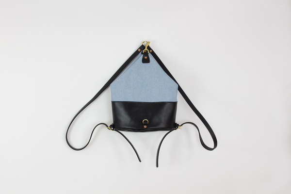 Black Leather & Light Denim Mini Backpack