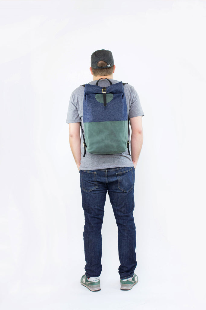 Forest Leather & Dark Denim Backpack