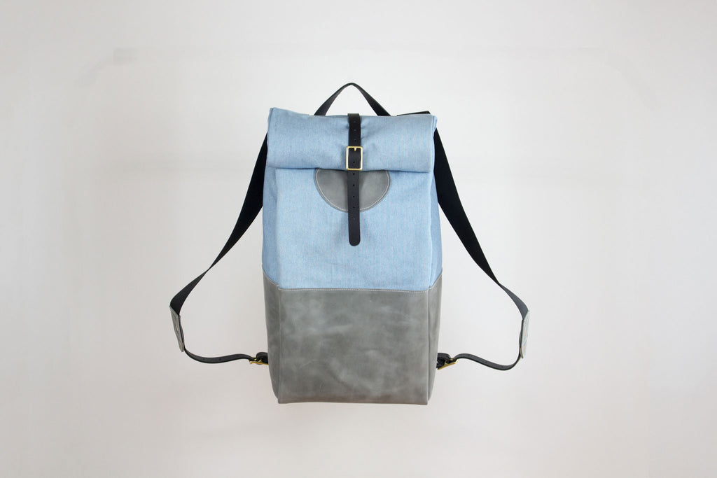 Grey Leather & Light Denim Backpack