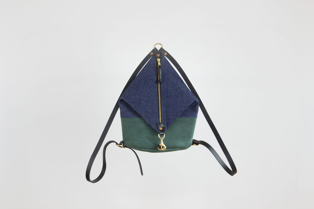 Forest Leather & Dark Denim Mini Backpack