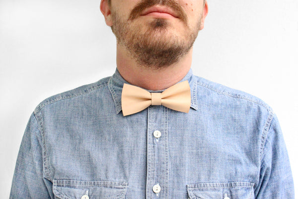 Nude Leather Bow Tie