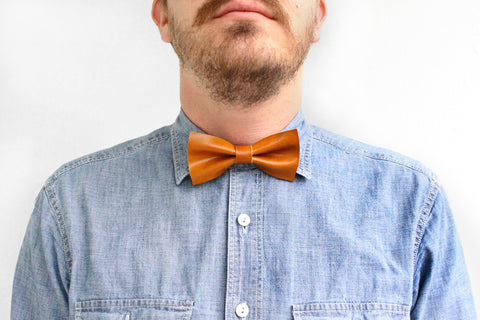 Caramel Leather Bow Tie