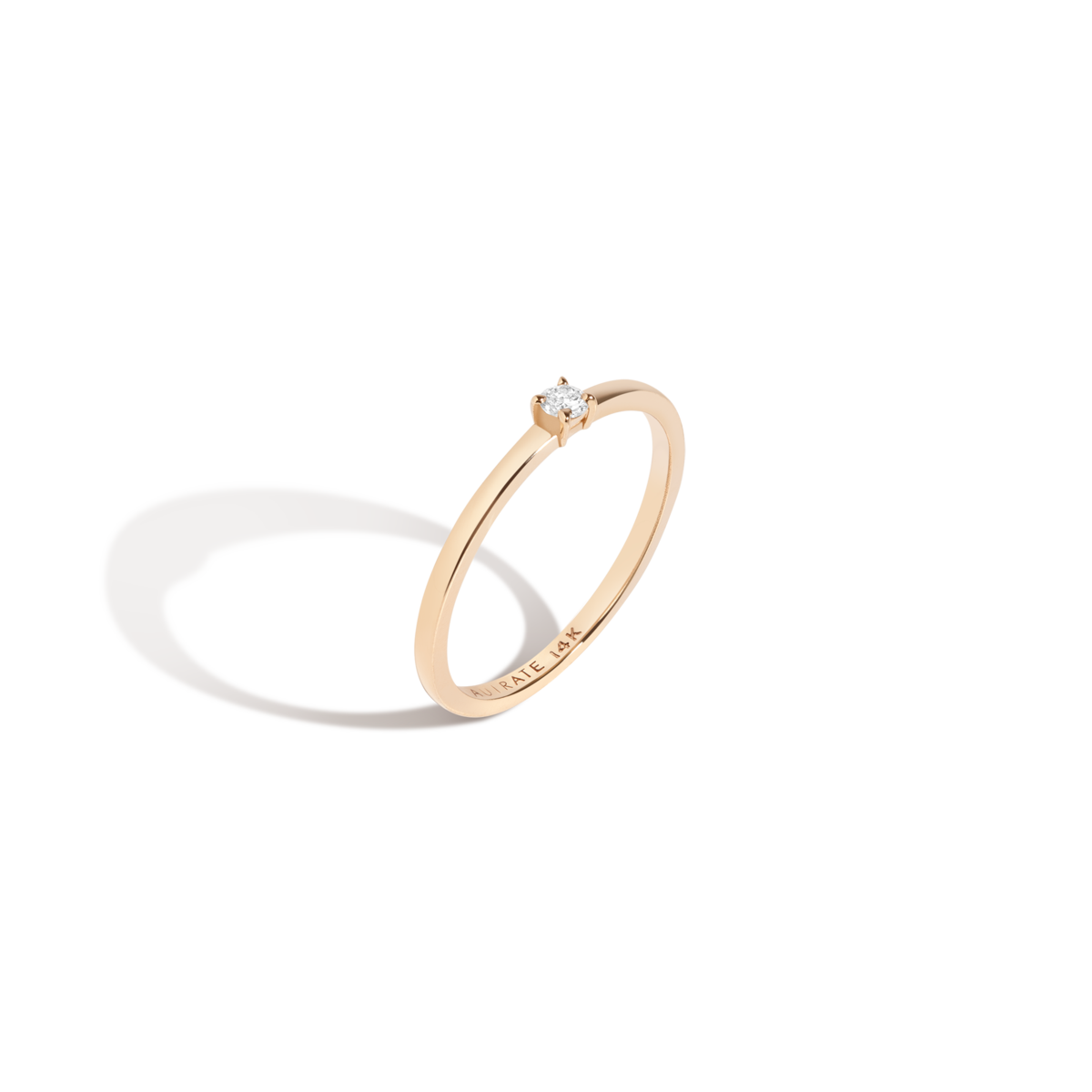 Medium Diamond Solitaire Ring 14K gold