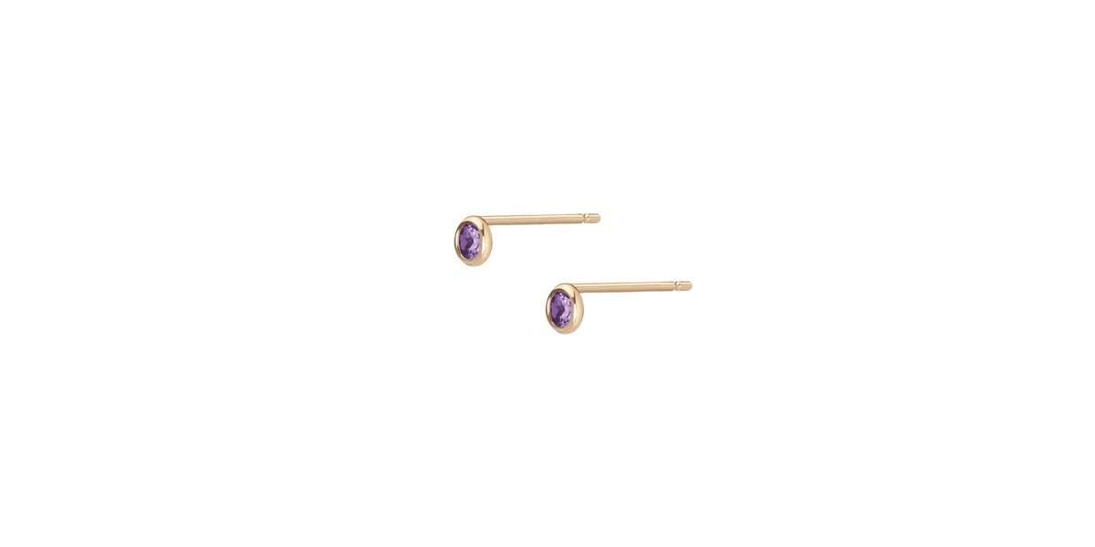 Birthstone studs with Amethyst