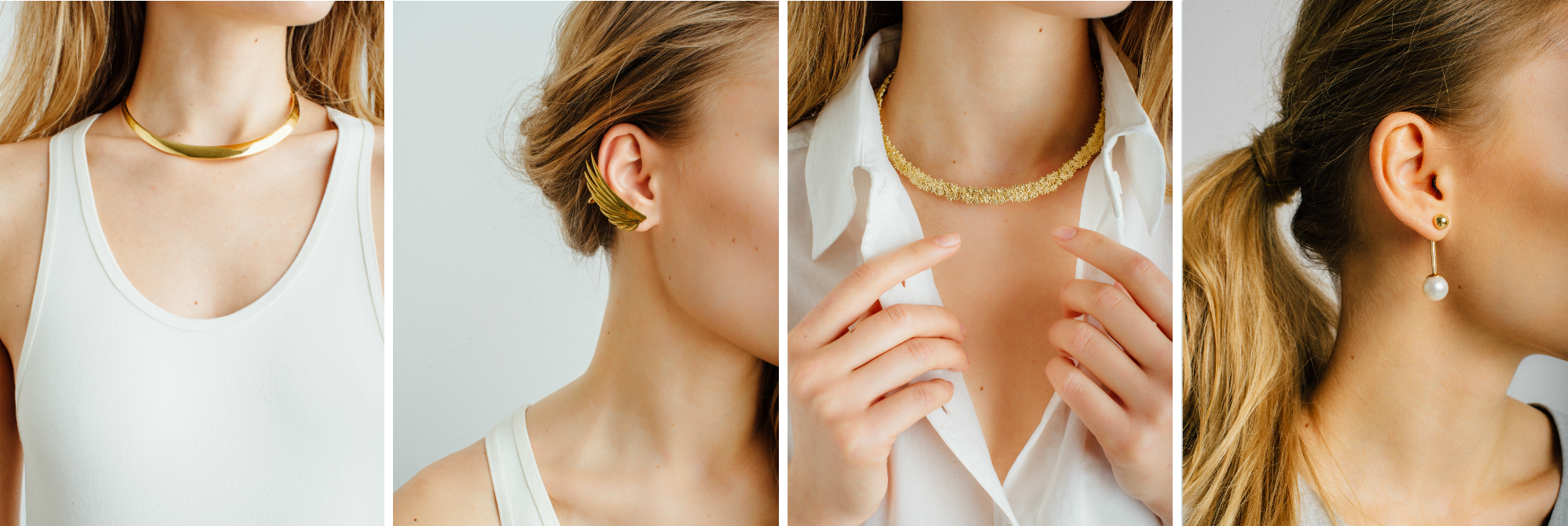 gold statement necklaces and ear jewelry