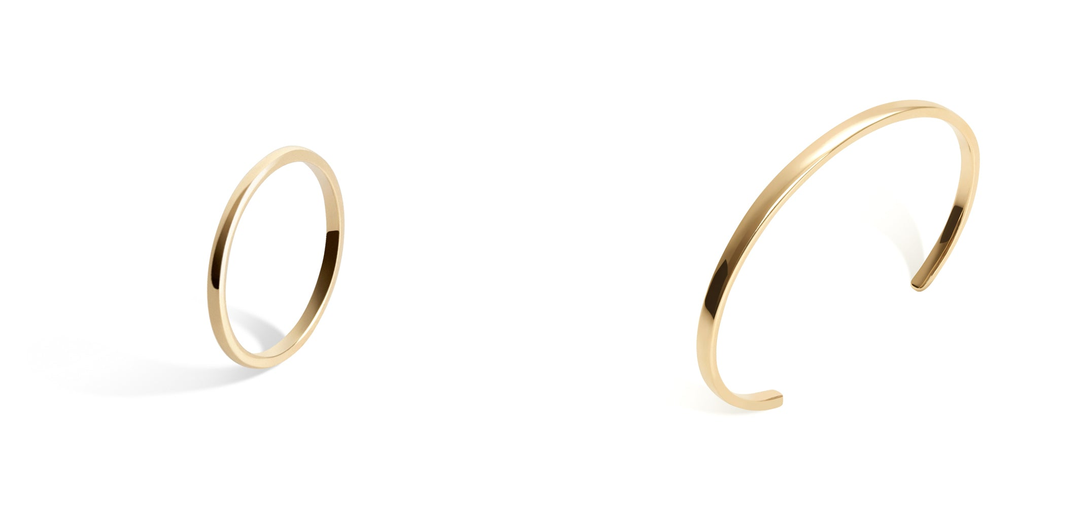 AUrate Tricolor Ring & Skinny Cuff