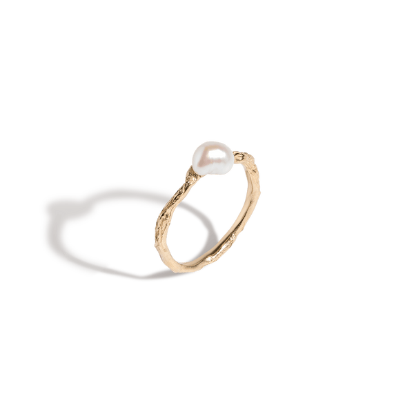 Venus Organic Pearl Gold Ring by Aurate