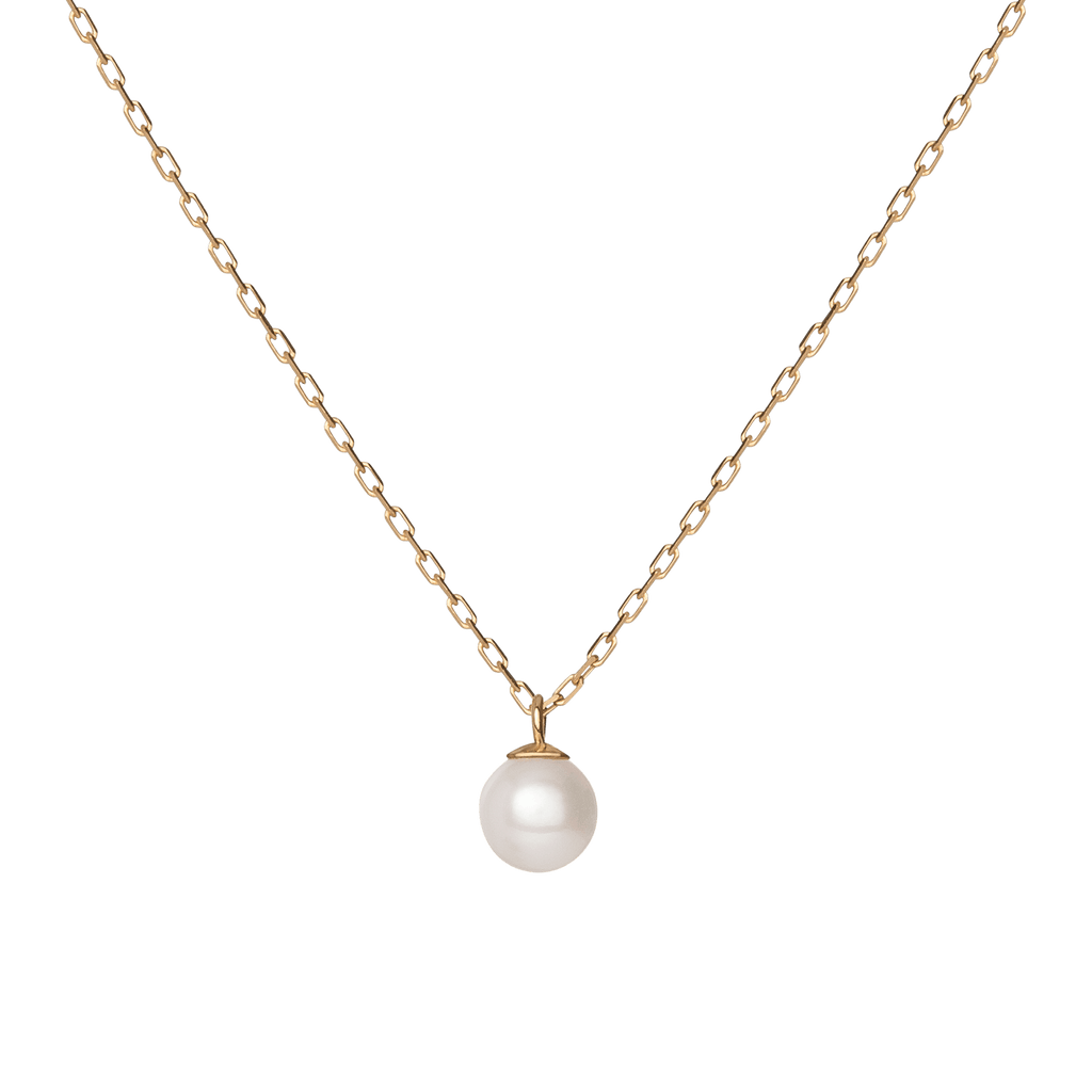 Simple Pearl Necklace In Yellow Rose Or White Gold