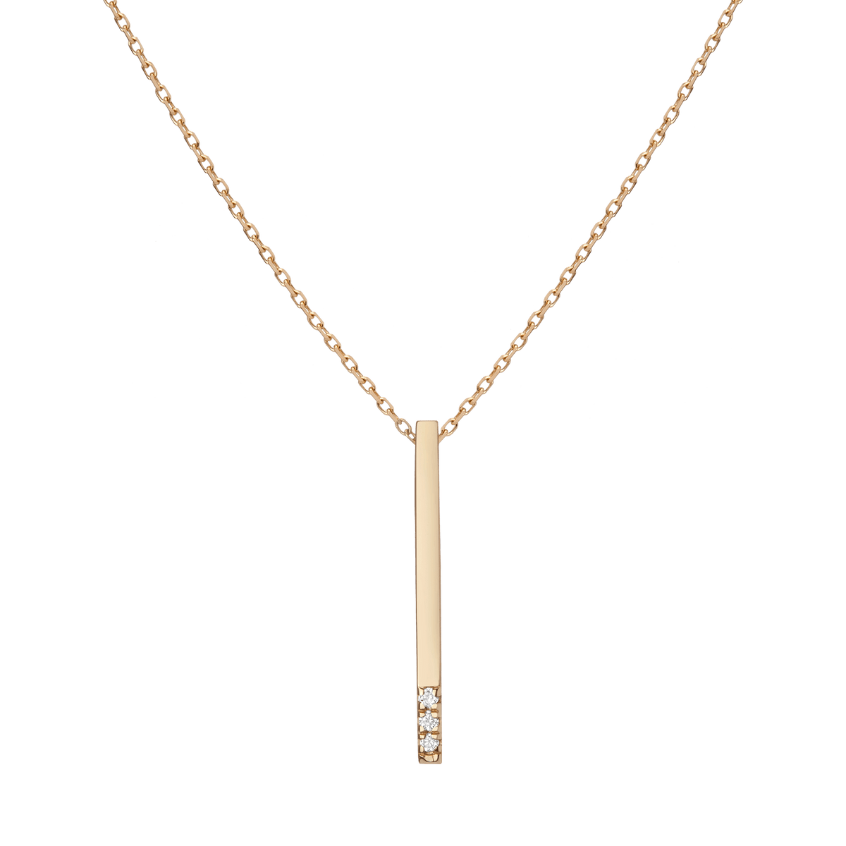 Short Gold Bar Drop Necklace with Diamonds