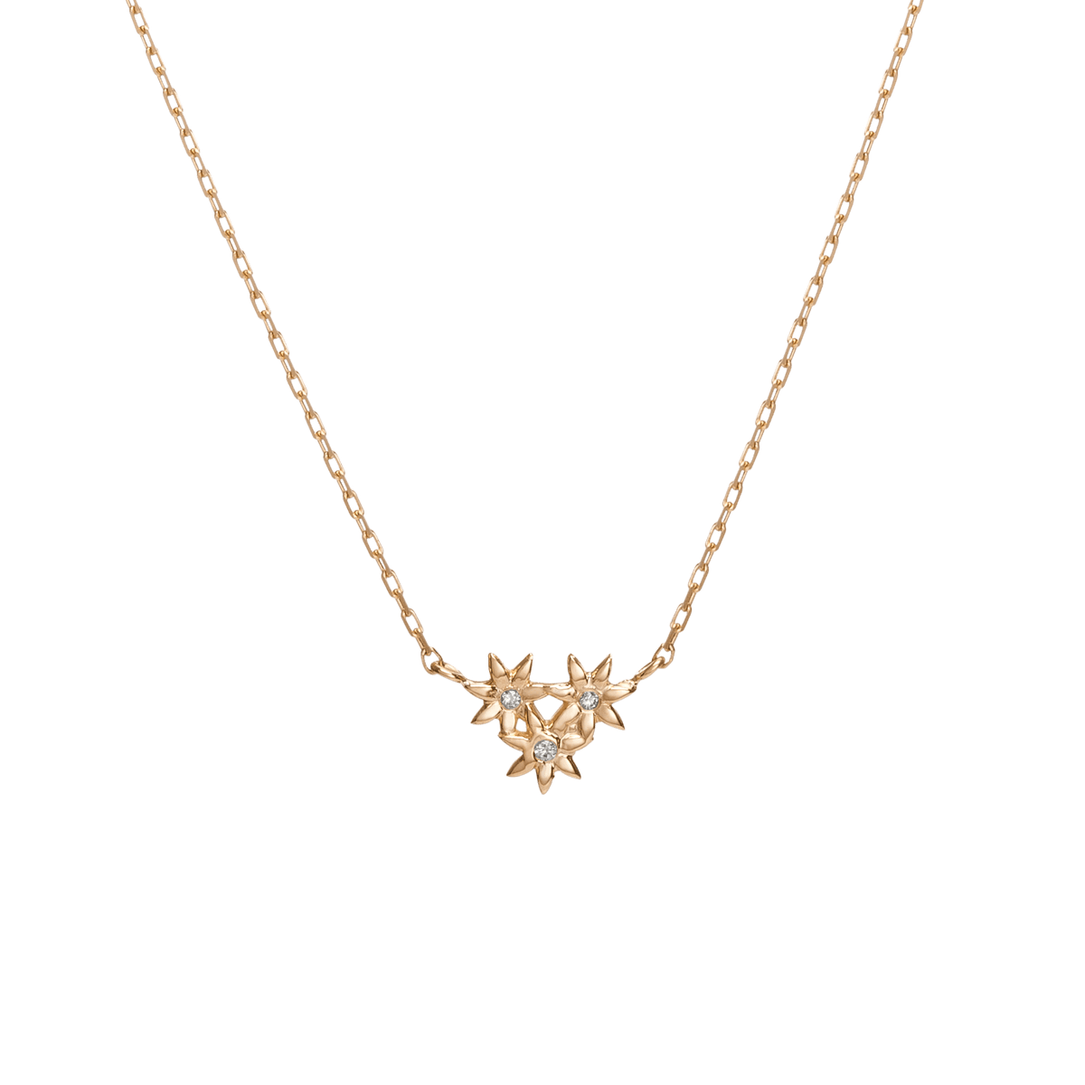 Mini Flower Pendant With Diamonds In Yellow Rose Or White Gold