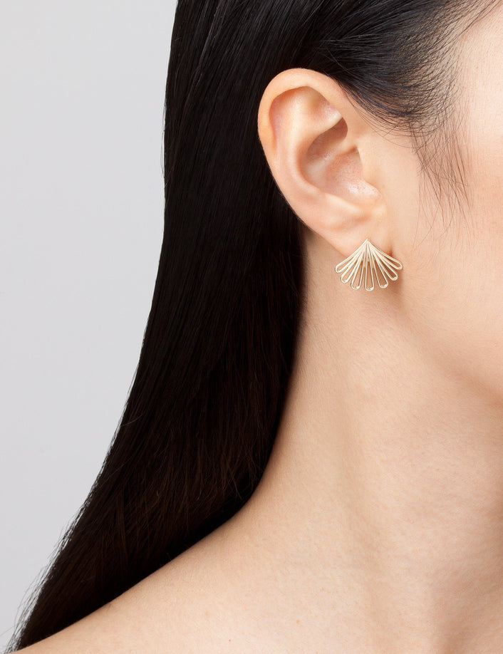 Deco Fan Gold Earrings