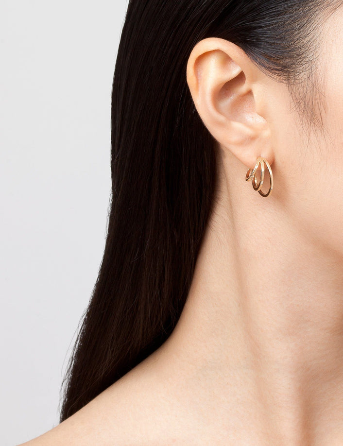 Deco Triple Gold Hoop Earrings